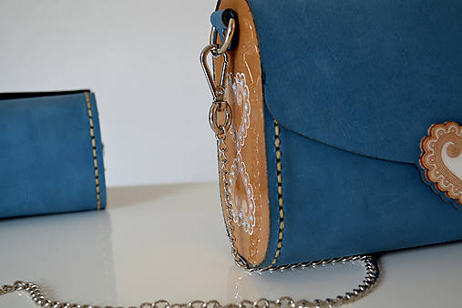 Kožená kabelka Zuzička (Svetlomodrá crazy horse)