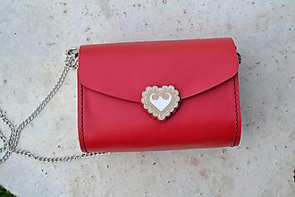 Kabelky - Kožená kabelka Zuzička (červená pigmentovaná koža) - 13556446_