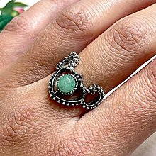 Prstene - Antique Silver Green Aventurine Ring / Vintage prsteň so zeleným aventurínom - 13561364_