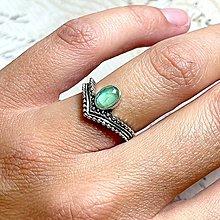 Prstene - Antique Silver Prehnite Doublet Ring / Vintage prsteň s dubletom - prehnit - 13561442_