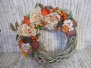 Dekorácie - Jesenný vintage venček - 13560455_
