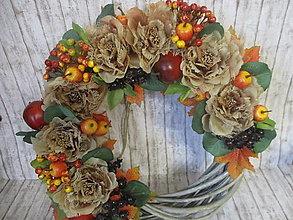 Dekorácie - Jesenný vintage veniec - 13560464_