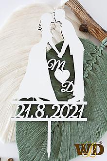 Dekorácie - Zápich do svadobnej torty na želanie - 13560616_