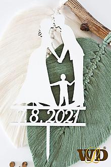 Dekorácie - Zápich do svadobnej torty na želanie - 13560617_