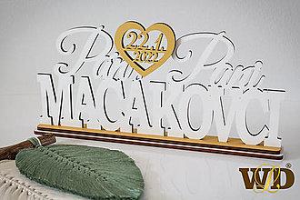 Dekorácie - Spoločné priezvisko +mená+dátum svadby - na podstavci - 13560769_
