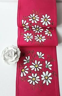 Úžitkový textil - Maľovaný stredový obrus - tmavo ružová, 136 x 20 cm - 13560827_