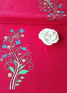 Úžitkový textil - Maľovaný stredový obrus -  tmavo ružová,  147 x 41,5 cm - 13560931_