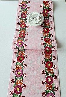 Úžitkový textil - Maľovaný stredový obrus - ružový, 120x 20cm ,svetlo ružový - 13560984_