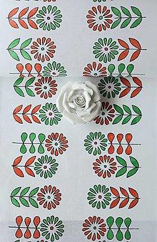 Úžitkový textil - Maľovaný obrus stredový - biela, 36 x 139 cm - 13561000_