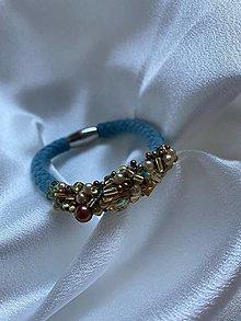 Náramky - Pošitý náramek - baby blue - 13561916_