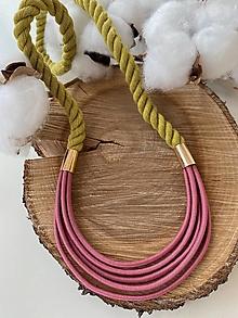 Náhrdelníky - Lanový náhrdelník - žlutozelená & růžová - 13561938_