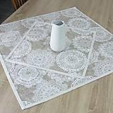 Úžitkový textil - REBEKA - biele mandaly na béžovom melíre - obrus štvorec - 13560947_