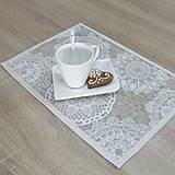 Úžitkový textil - REBEKA - biele mandaly na béžovom melíre - textilné prestieranie 28x40 - 13561180_
