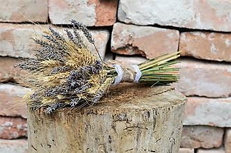 Dekorácie - Natur kytica s levanduľou - 13562102_