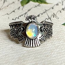 Prstene - Antique Silver Bird Opal Ring / Výrazný prsteň s opálom - 13562856_