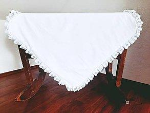 Textil - Deka biely bavlnený satén s madeirou - 13562710_
