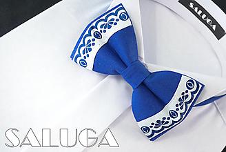 Doplnky - Pánsky folklórny motýlik - kráľovsky modrý - ľudový - 13562170_