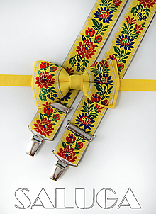 Doplnky - Folklórny pánsky žltý motýlik a traky - folkový - ľudový - 13562393_