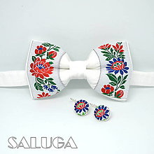 Doplnky - Folklórny biely pánsky motýlik + náušnice - 13562430_