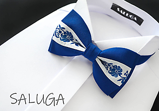 Doplnky - Folklórny pánsky kráľovsky modrý motýlik - folkový - ľudový - 13563240_