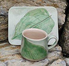 Nádoby - Šálka a tanierik s listom - 13562215_