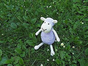 Hračky - Milá háčkovaná ovečka - fialová - 29cm - 13564257_