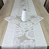 Úžitkový textil - REBEKA - biele mandaly na béžovom melíre - stredový obrus  (135 cm x 40 cm) - 13562108_
