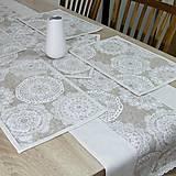 Úžitkový textil - REBEKA - biele mandaly na béžovom melíre - stredový obrus  (135 cm x 40 cm) - 13562110_