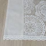 Úžitkový textil - REBEKA - biele mandaly na béžovom melíre - stredový obrus  (135 cm x 40 cm) - 13562112_