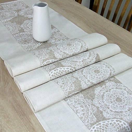 REBEKA - biele mandaly na béžovom melíre - stredový obrus  (135 cm x 40 cm)