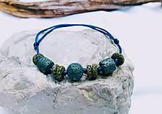 Náramky - Lávový náramok//modrá saténová šnúrka - 13563859_