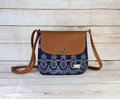 modrotlačová kabelka Ria hnedá 1