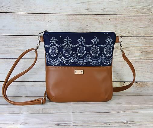 Modrotlačová kabelka Dara hnedá 1
