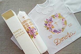 Detské oblečenie - Ružovo-zlatý set do krstu - 13567612_