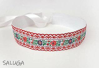 Opasky - Folklórny opasok - dámsky - folk - červený - široký 5,5cm - 13565998_