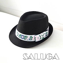 Čiapky - Folklórny klobúk - čierny - ľudový - ružová stuha - 13566027_
