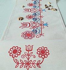 Úžitkový textil - Maľovaný obrus stredový - béžový, 30 x 139 cm - 13564554_