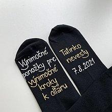 Obuv - Maľované ponožky pre otca nevesty (Čierne) - 13565101_