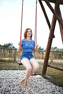 Tričká - Maľované tričko Vtáčik - bledomodrá - 13569042_