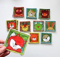 Hračky - Textilné pexeso  (Zvieratká z lesnej tône) - 13569383_