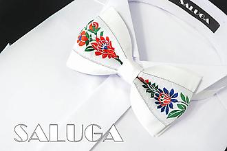 Doplnky - Pánsky folklórny motýlik - biely - ľudový - 13569070_