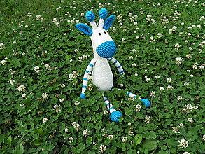 Hračky - Háčkovaná žirafka - veľká - 45cm - modrobiela - 13568979_