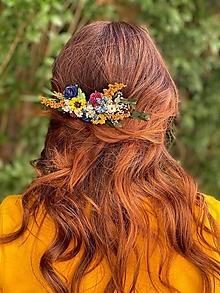 """Ozdoby do vlasov - Kvetinový hrebienok """"slnko na lesných čučoriedkach"""" - 13570044_"""