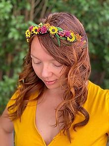 """Ozdoby do vlasov - Kvetinová čelenka """"stmievanie v poli slnečníc"""" - 13570060_"""