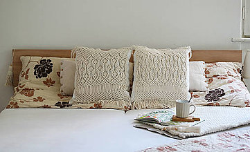 Úžitkový textil - Makramé vankúš - 13569037_