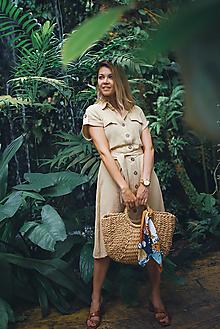 Šaty - Mušelínové šaty béžové - 13568256_