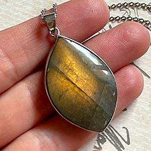 Náhrdelníky - Labradorite Steel Necklace / Oceľový náhrdelník s labradoritom - 13571429_