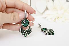 Náušnice - šité náušnice ELIS (emerald) - 13570235_