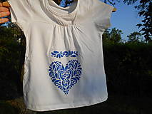 Detské oblečenie - blue folk heart-tričko srdce-modré-deti - 13570237_