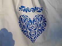 Detské oblečenie - blue folk heart-tričko srdce-modré-deti - 13570238_